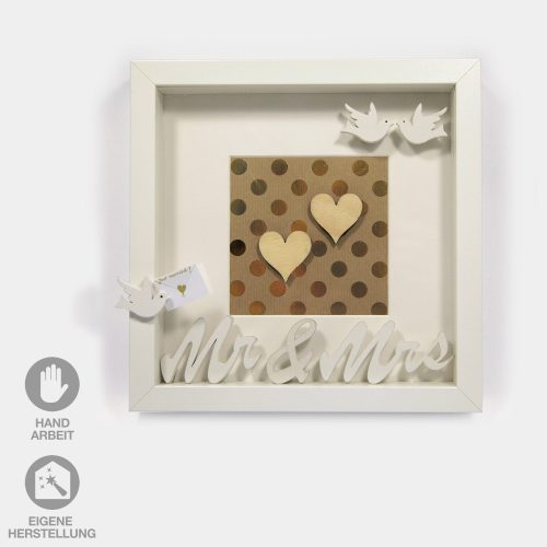 Hochzeits-Rahmen Mr.&Mrs., Herzen, Tauben gold, weiß