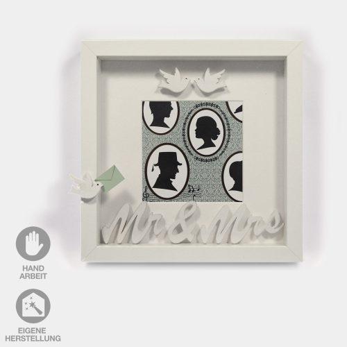 Hochzeits-Rahmen Nostalgie Mr.&Mrs., weiße Tauben