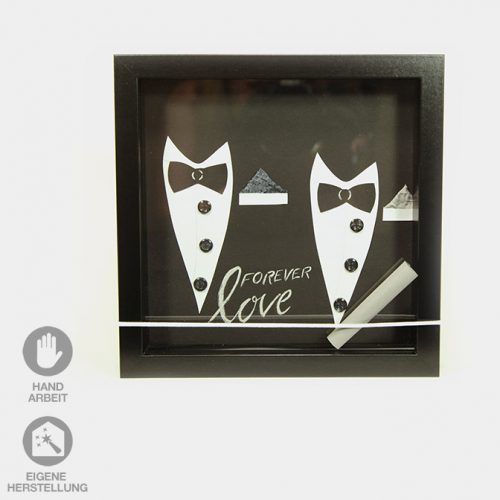 Handgefertigter Rahmen für ein Geld-Geschenk für die Hochzeit zweier liebender Männer.