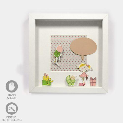 Geschenk-Idee im Rahmen zur Geburt eines Mädchens. Bunte Geschenke, Luftballons und ein fröhliches Mädchen mit Sprechblase