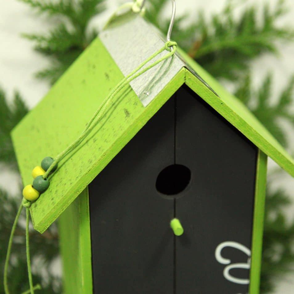 grünes Vogelhaus Dachfirst aus Metall