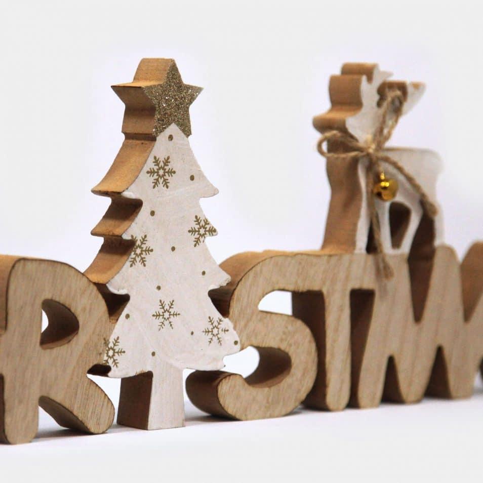Deko-Objekt Holz Schriftzug Christmas mit Baum und Hirsch