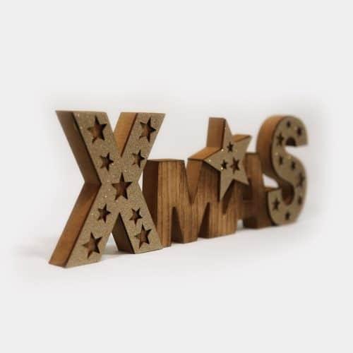 Deko-Objekt Holzschriftzug Xmas mit Sternen glitzernd