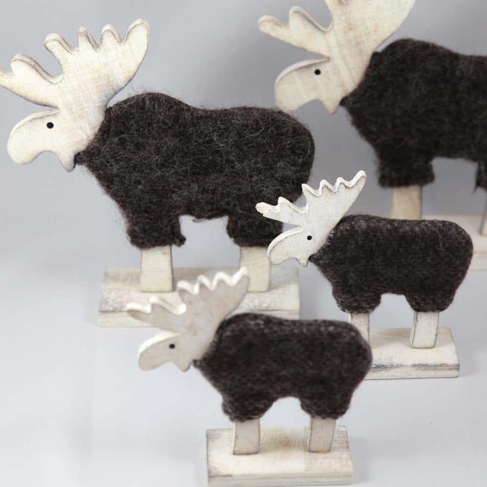 Deko-Objekt weiße Holz-Elche mit Wolle