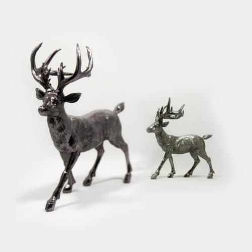 Deko-Objekte zwei Hirsche aus Poly silber schwarz