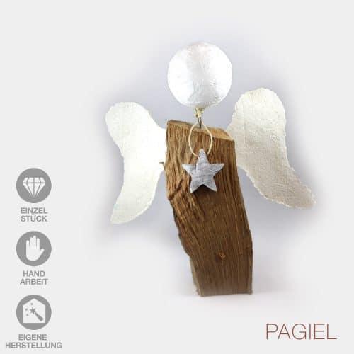 Handarbeit Engel Papier-Flügel Gipskopf weißer Stern