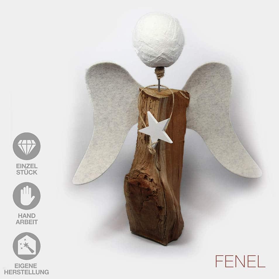 Handarbeit Engel Filz-Flügel Gipskopf weißer Stern