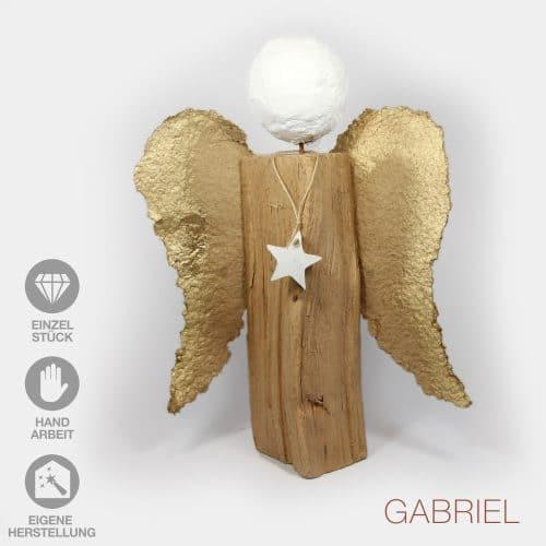 Handarbeit Engel selbstgeschöpte Papier-Flügel gold Gipskopf