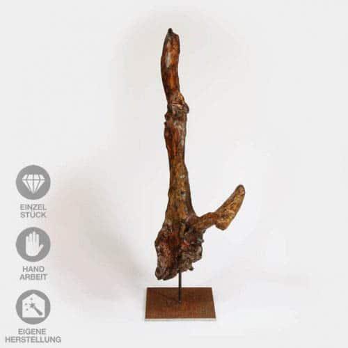 """Geölte, lackierte Holz-Skulptur """"Abzweigung"""" mit Eisen-Pin"""