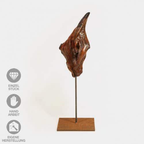 """Geölte, lackierte Holz-Skulptur """"Feuer und Flamme"""" mit Eisen-Pin"""