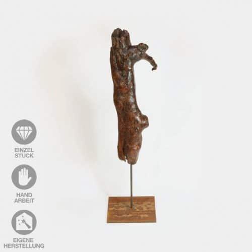 """Geölte, lackierte Holz-Skulptur """"Specht Zuhause"""" mit Eisen-Pin"""