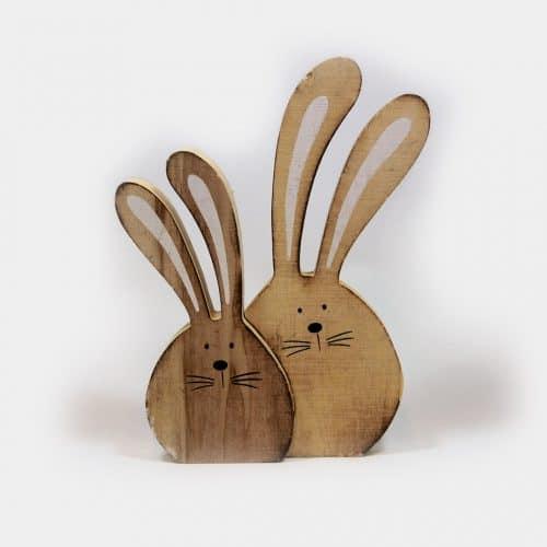 Holz-Hasenpaar