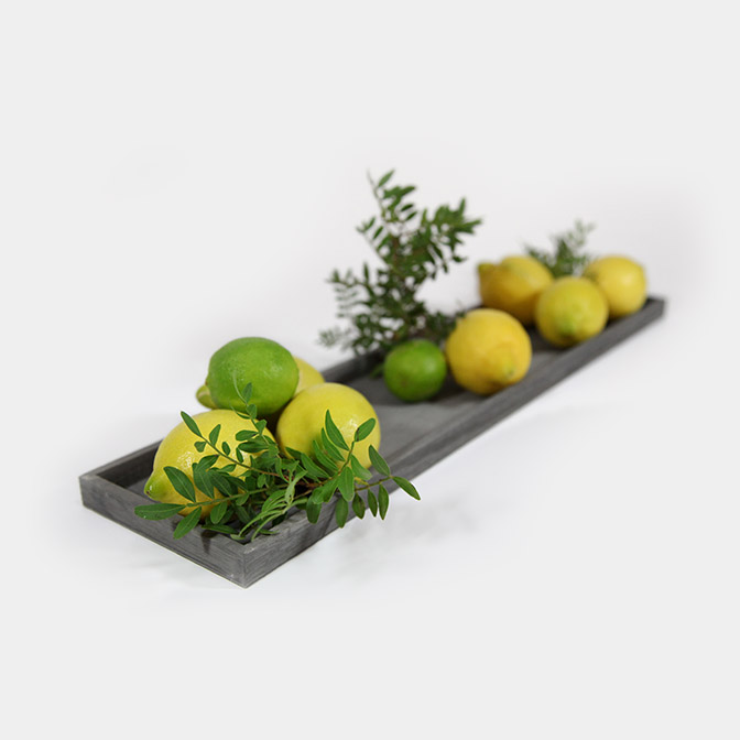 Schale / Tablett für Tischdekoration in grau