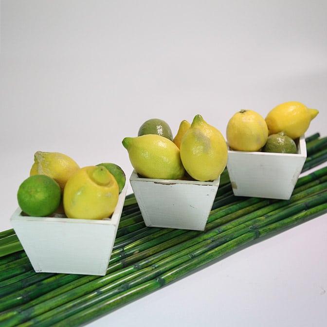 Drei quadratische, weiße Holz-Schalen im shabby chic. Dekoriert mit frischen Zitronen und Limetten. Das ganze wird auf langen, grünen Bambus-Stangen präsentiert