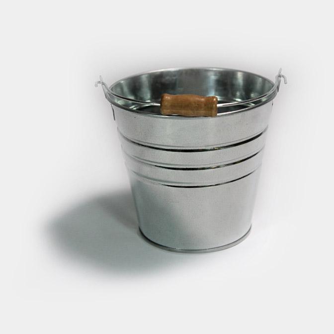 Deko-Eimer aus Metall mit Holzgriff (Ø13cm)
