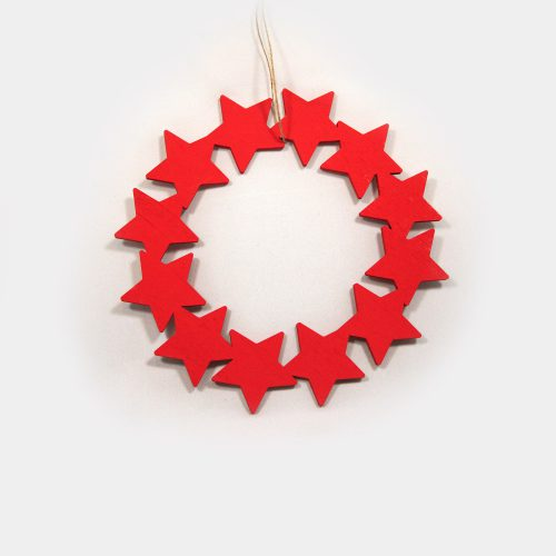 roter Holz-Sternen-Kranz zum aufhängen