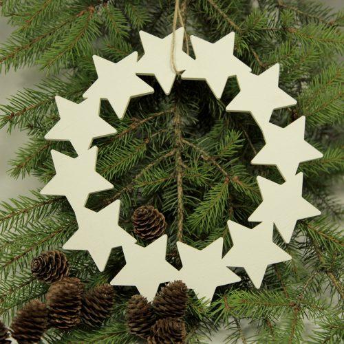 weißer Holz-Sternen-Kranz zum aufhängen