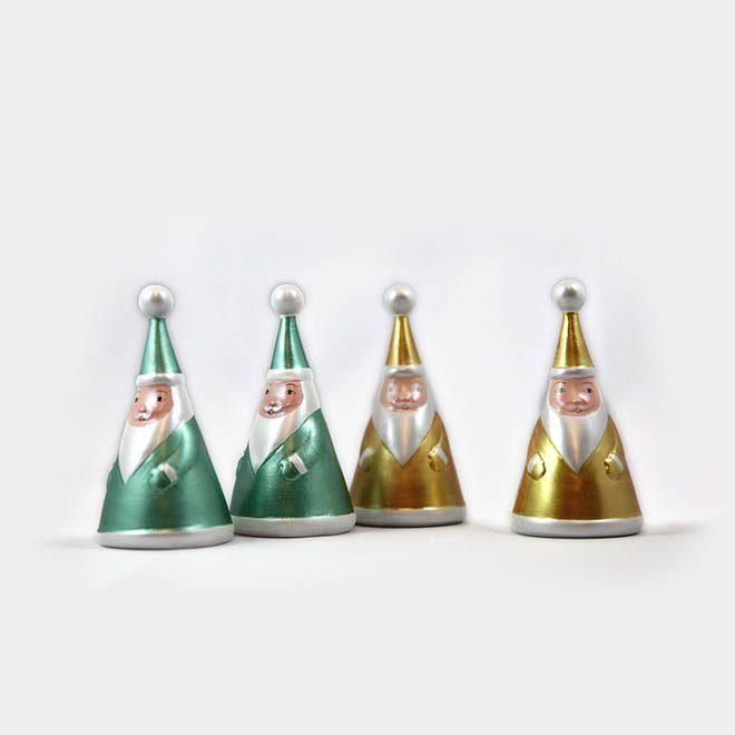 """Weihnachtsmänner-Set """"gold und türkis"""" (4er-Set)"""