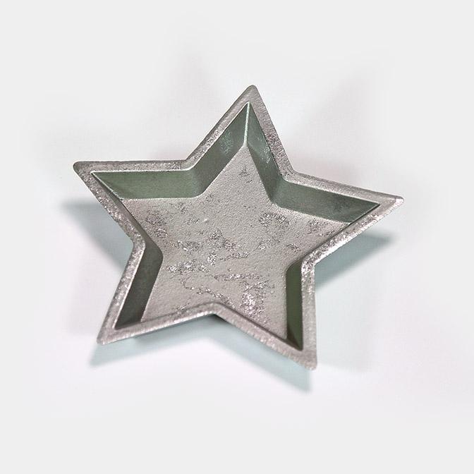 Stern-Teller aus Holz, silber - shiny (Ø 23cm)