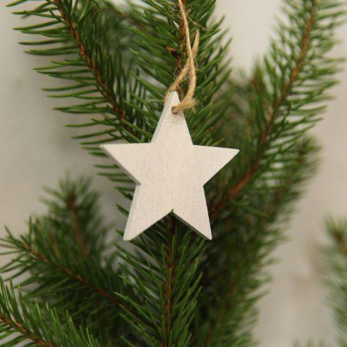 weißer Holz-Stern zum aufhängen