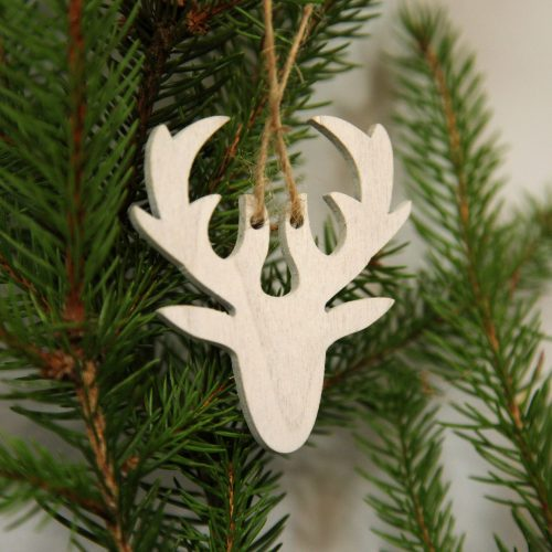 weißer Holz-Hirsch zum aufhängen