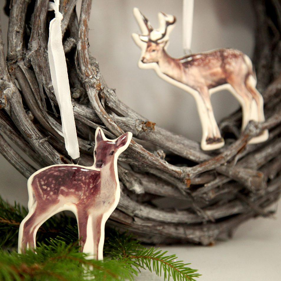 Hirsch und Reh aus Porzellan zum aufhängen
