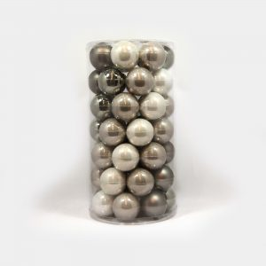 große, grau-silberne Glas-Weihnachtsbaum-Kugeln Mix