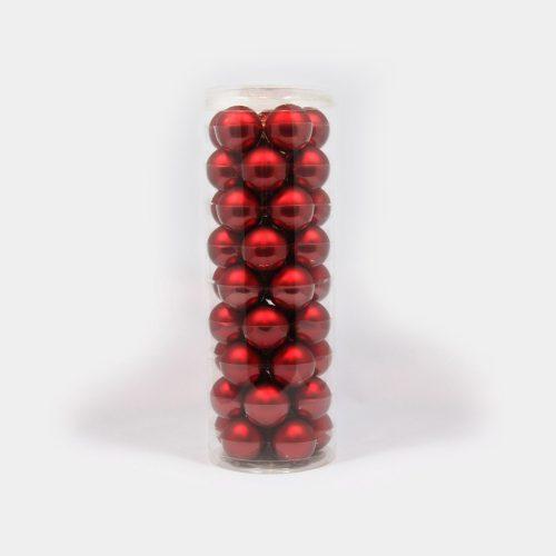 rote, kleine Weihnachtsbaum-Kugeln aus Glas
