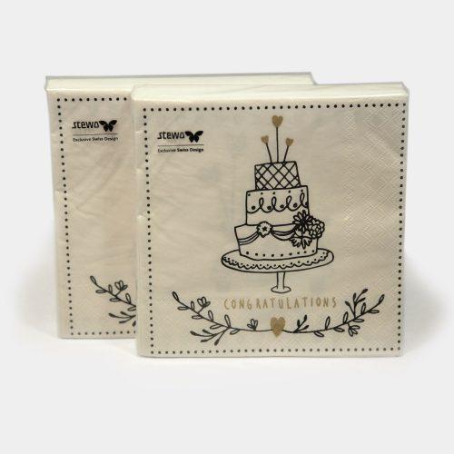 weiße Papier-Servietten mit Hochzeits-Torte