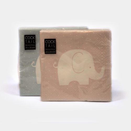 rosa und hellblaue Cocktail-Servietten mit weißem Elefant-Motiv