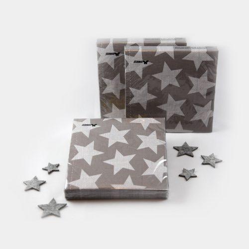 Papier-Servietten mit Sternen in taupe