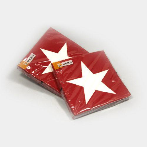 rote Papier-Servietten mit weißem Stern