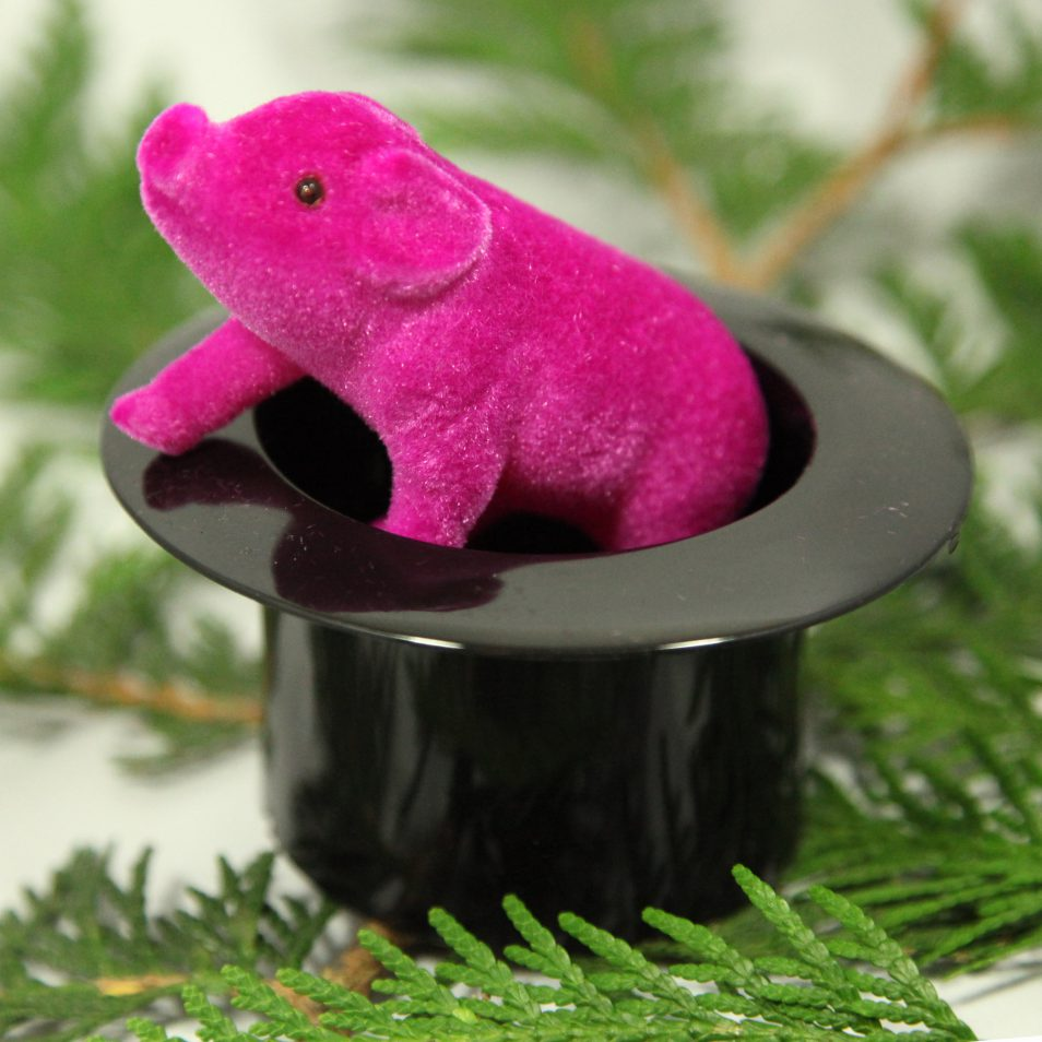 Schwarzer Zylinder mit pinkem Schwein für Silvester