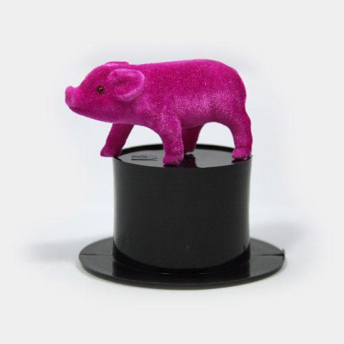schwarzer Zylinder mit Glücksschwein in pink