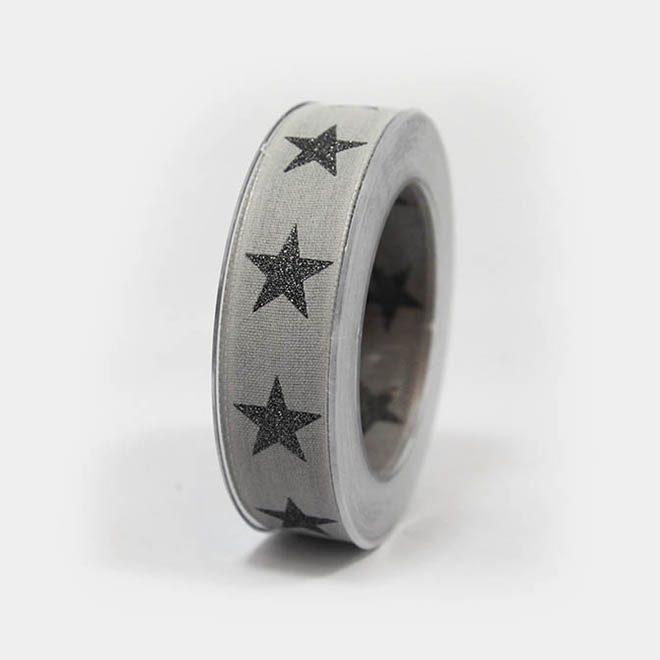 graues Geschenkband mit dunkel-grauen Sternen