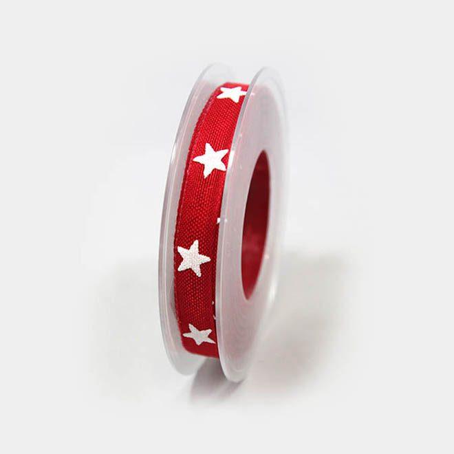 rotes Geschenkband mit weißen Sternen
