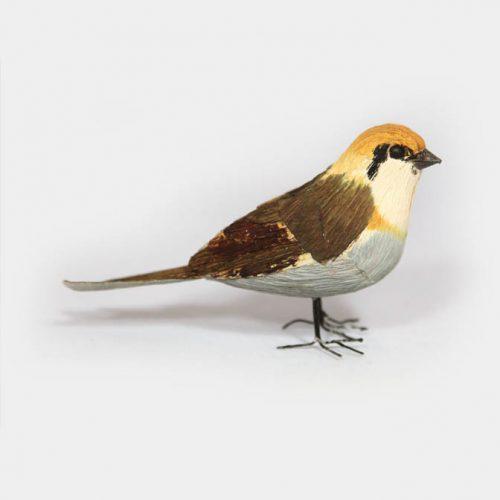 Papier-Vogel ocker-schlamm mit Draht-Füssen