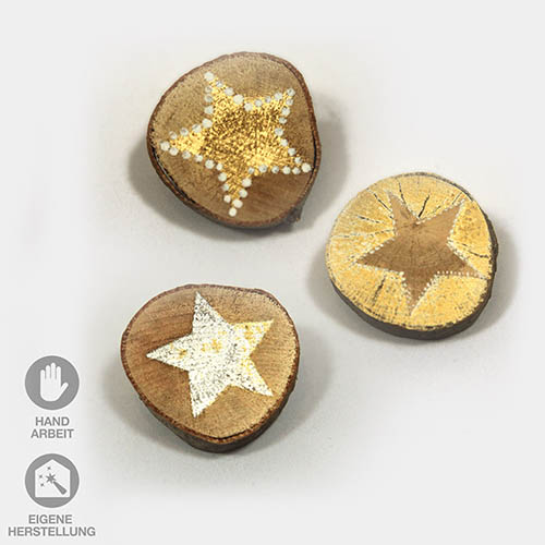drei handbemalte Astscheiben mit Sternen silber-gold