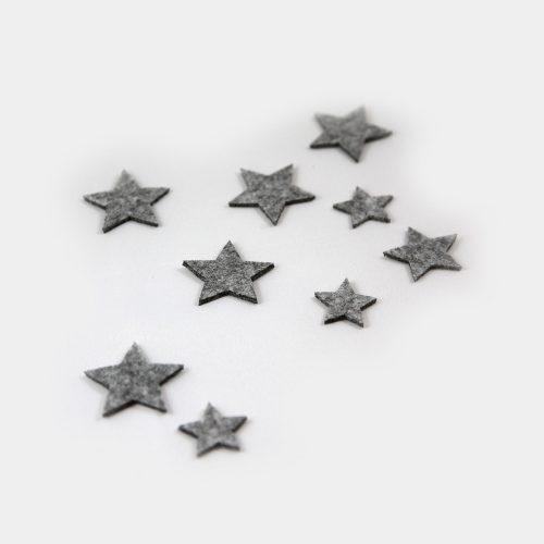 Filz-Sterne in grau als Streuer