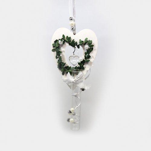 hängendes Hochzeits-Herz mit Glas
