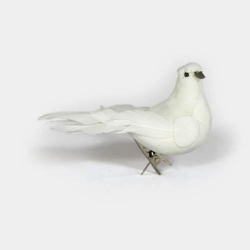 weiße Feder-Taube mit Clip zum befestigen