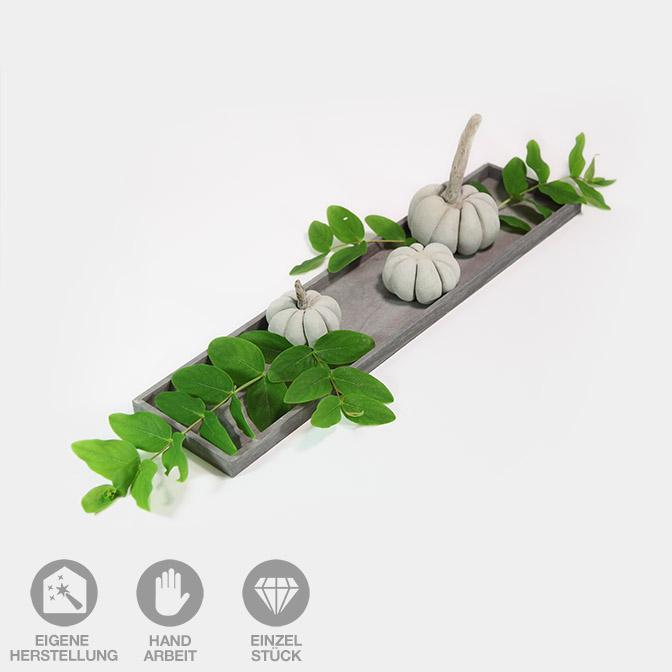 Herbstdeko-Set Tablett mit Beton-Kürbissen