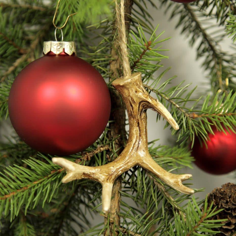 Deko-Set Weihnachtsbaum in Rot mit Geweihen