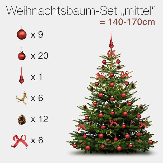 """Unser Weihnachtsbaumschmuck Komplett-Set """"klassisch rot"""" für mittlere Bäume zwischen 140cm und 170cm, bestehend aus großen und kleinen, roten Kugeln aus Glas, einer Glasbaumspitze, Mini-Deko-Geweihen, echten Kiefernzapfen und roten Textilschleifen"""