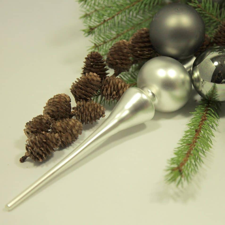 Deko-Set Grau-Mix Weihnachtsbaum-Spitze silber