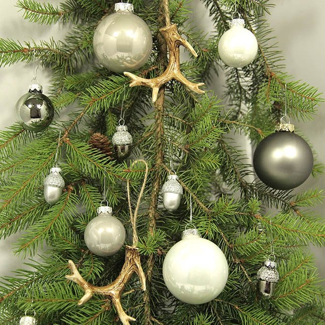 """Weihnachtsbaum Deko-Set """"modern grau"""" (41/60/71-teilig)"""
