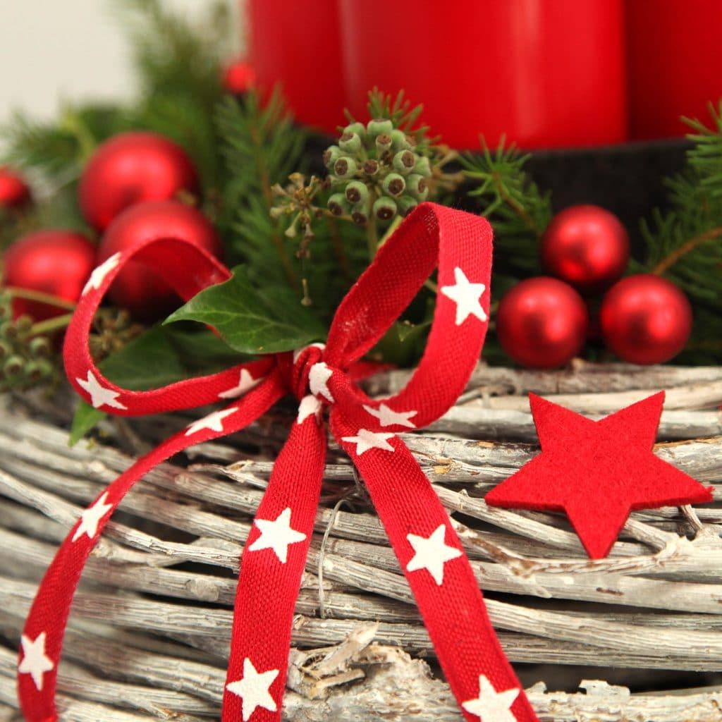 Deko-Set Adventskranz rote Schleife mit Sternen, Filz-Stern