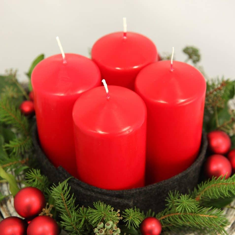 Deko-Set Adventskranz rote Kerzen, Kugeln