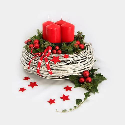 Deko-Set Adventskranz rote Kerzen, Kugeln, Schleife, Sterne