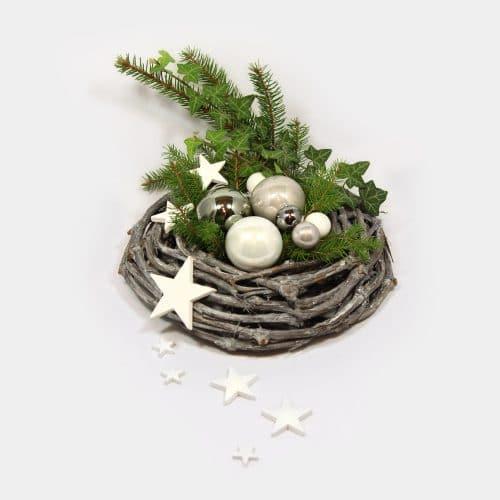 Weihnachtsgesteck modern grau mit Sternen